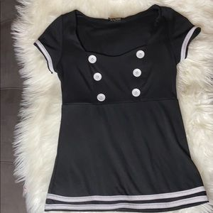 RockSteady Black And White Sailor Top